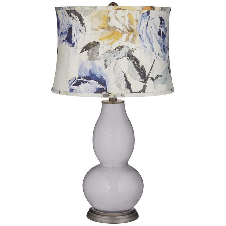 Swanky Gray Double Gourd Table Lamp w/ Gray Toned Floral Shade