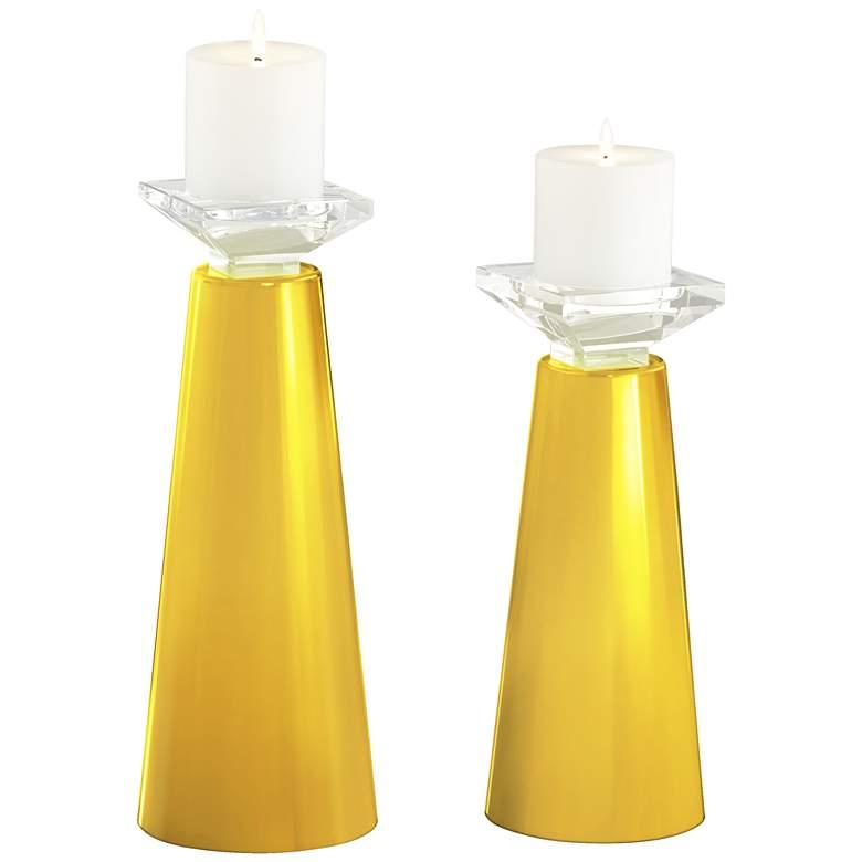 Meghan Citrus Glass Pillar Candle Holder Set of 2