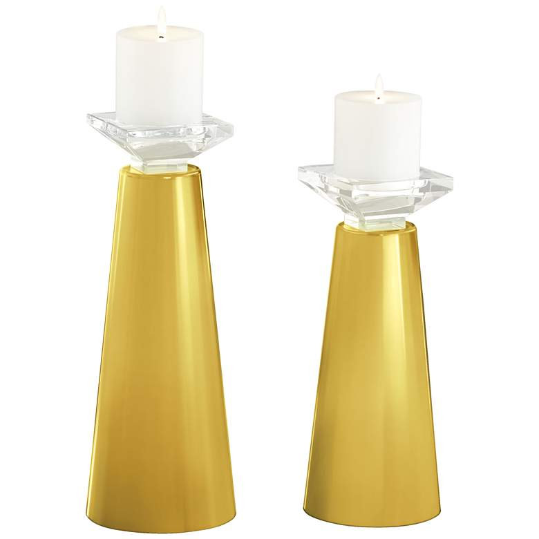 Meghan Nugget Glass Pillar Candle Holders Set of 2