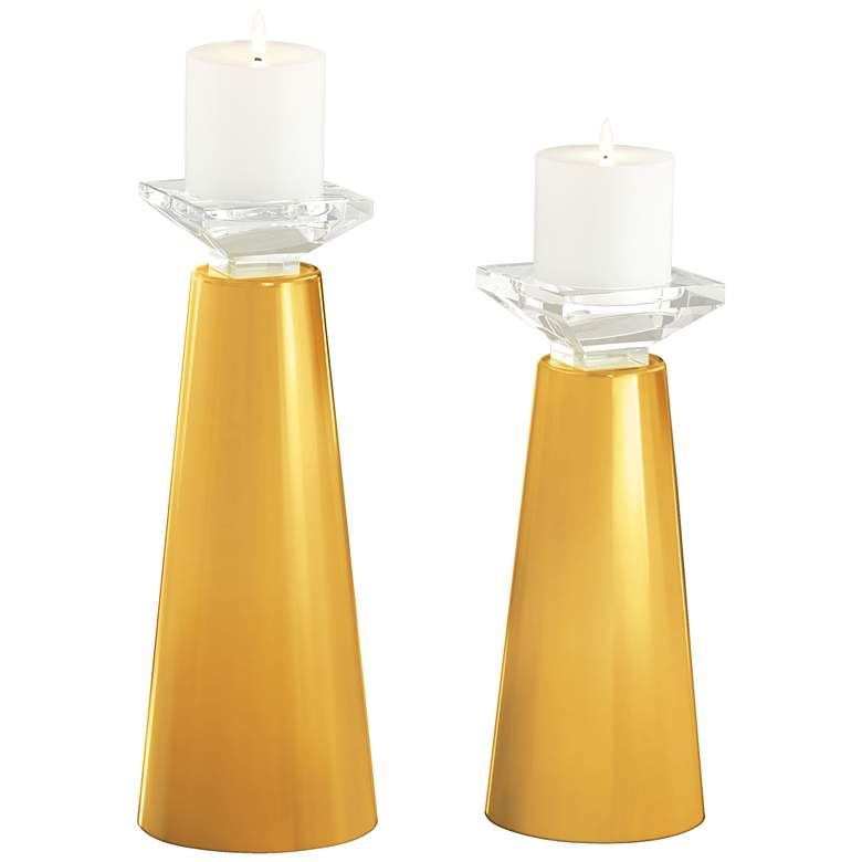 Meghan Goldenrod Glass Pillar Candle Holders Set of 2