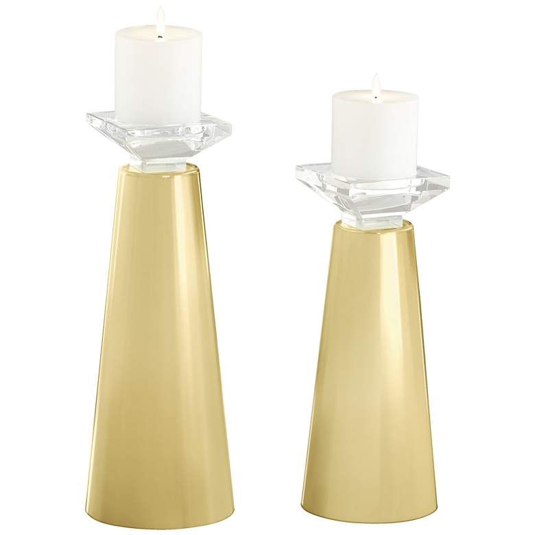 Meghan Butter Up Glass Pillar Candle Holders Set of 2