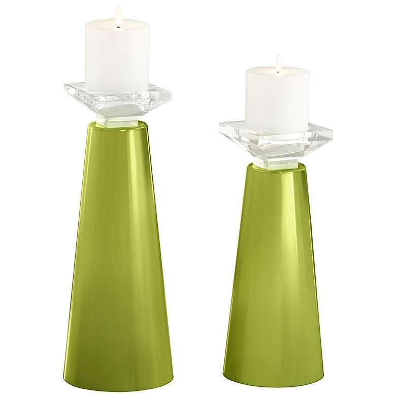 Meghan Parakeet Glass Pillar Candle Holder Set of 2