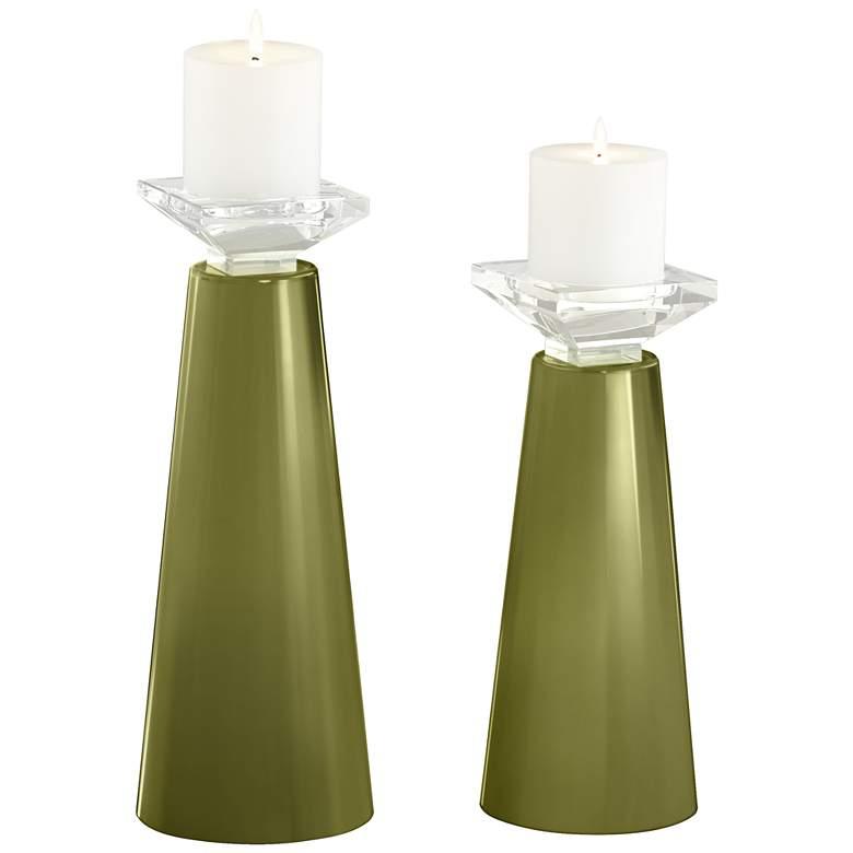 Meghan Rural Green Glass Pillar Candle Holder Set of 2