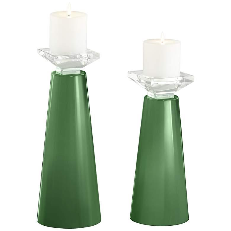 Meghan Garden Grove Glass Pillar Candle Holder Set of 2