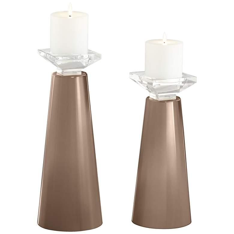 Meghan Mocha Glass Pillar Candle Holders Set of 2