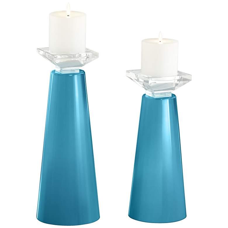 Meghan Jamaica Bay Glass Pillar Candle Holder Set of 2