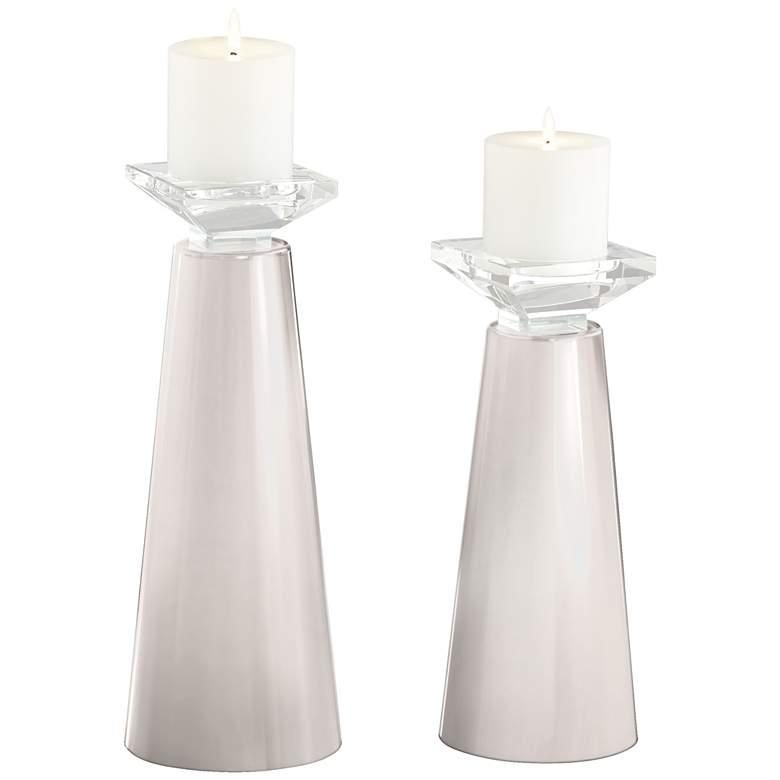 Meghan Smart White Glass Pillar Candle Holder Set of 2