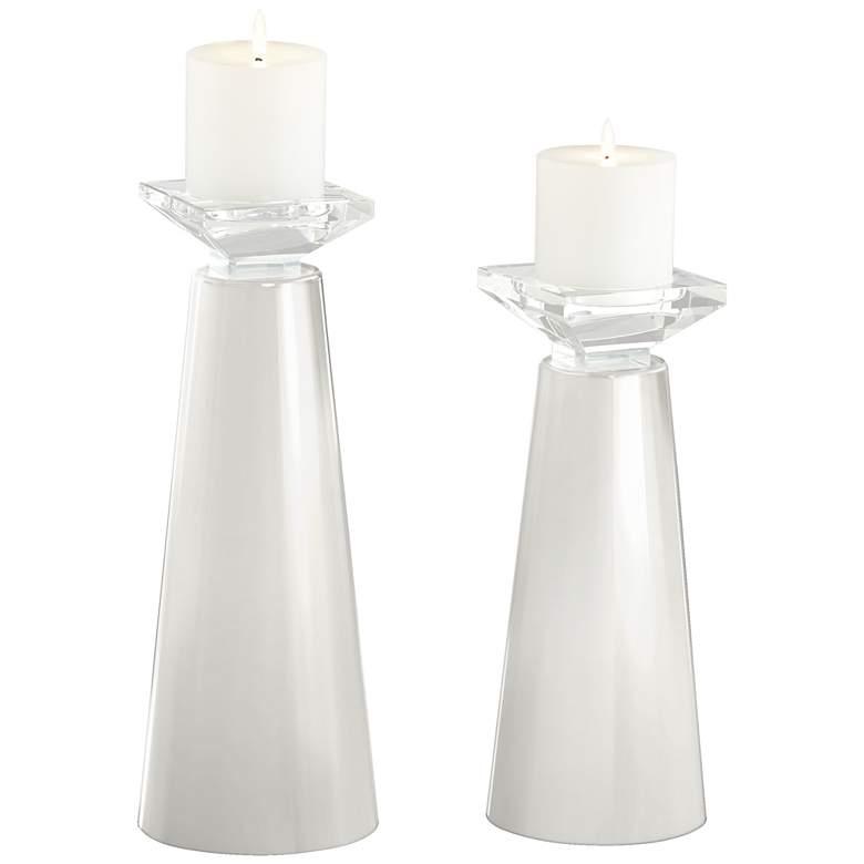 Meghan Winter White Glass Pillar Candle Holder Set of 2