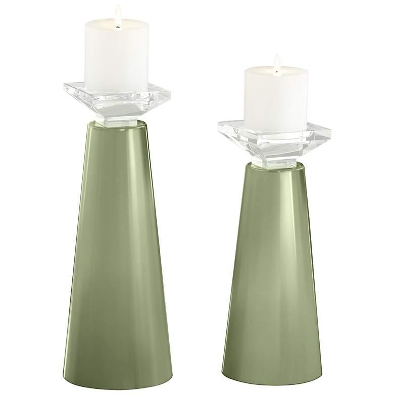 Meghan Majolica Green Glass Pillar Candle Holder Set of 2