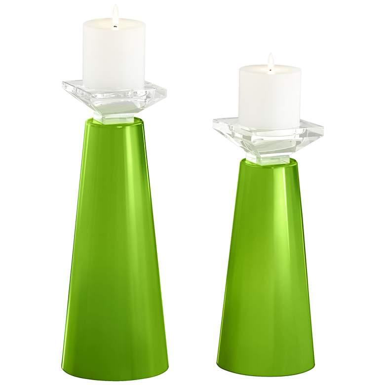 Meghan Neon Green Glass Pillar Candle Holder Set of 2