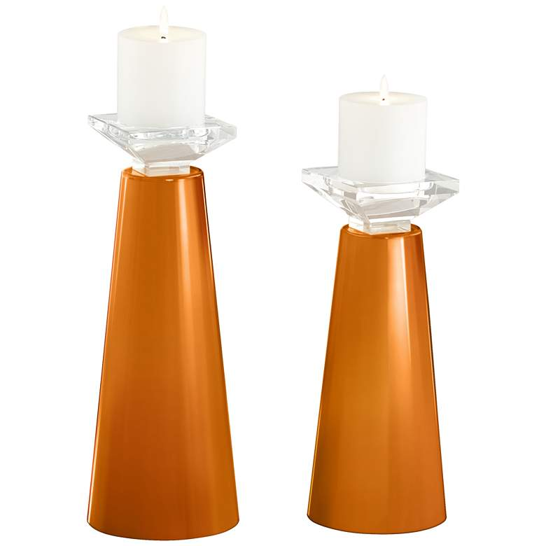 Meghan Cinnamon Spice Glass Pillar Candle Holders Set of 2