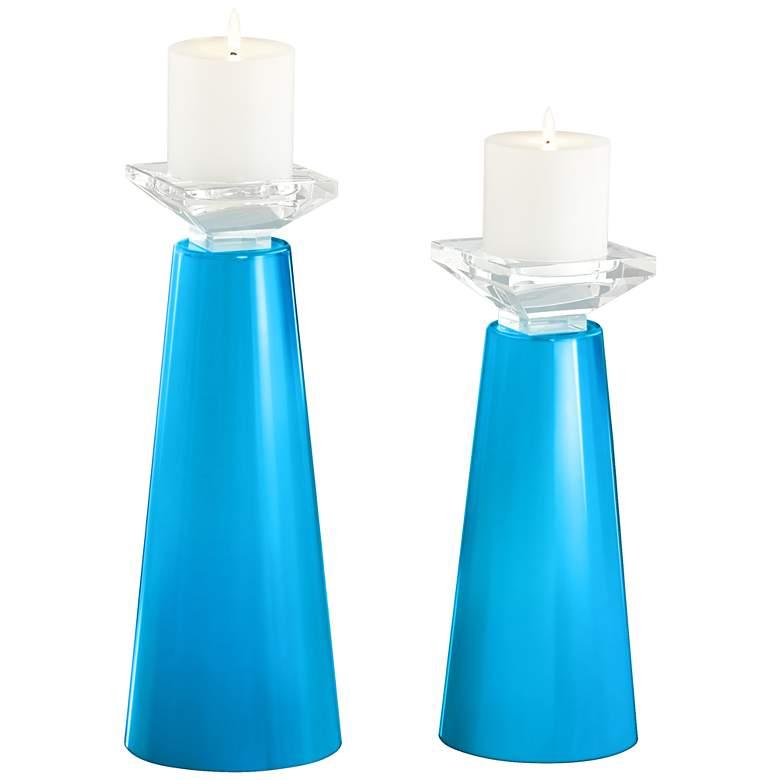 Meghan Sky Blue Glass Pillar Candle Holder Set of 2