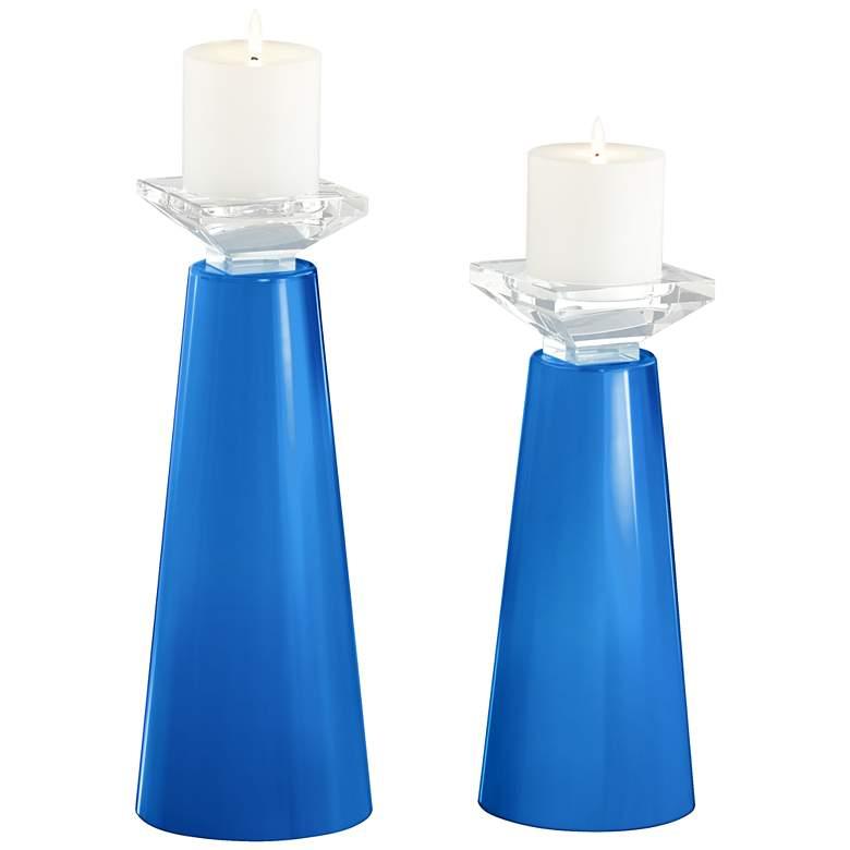 Meghan Royal Blue Glass Pillar Candle Holder Set of 2