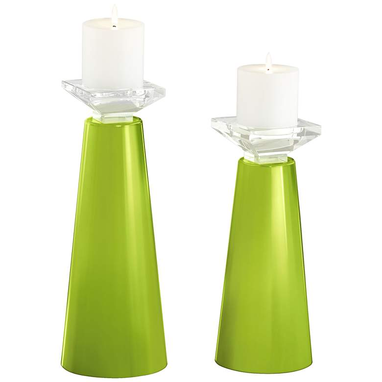 Meghan Tender Shoots Glass Pillar Candle Holder Set of 2