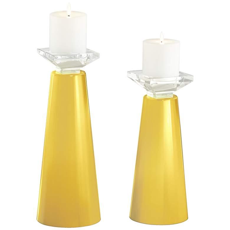 Meghan Lemon Zest Glass Pillar Candle Holder Set of 2