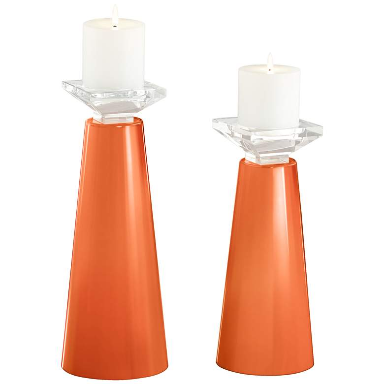 Meghan Nectarine Glass Pillar Candle Holder Set of 2