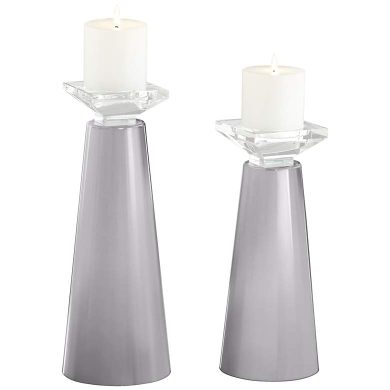 Meghan Swanky Gray Glass Pillar Candle Holder Set of 2