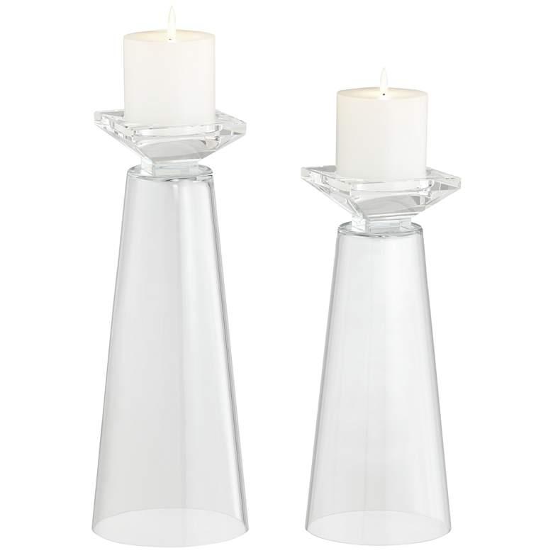 Meghan Clear Glass Fillable Pillar Candle Holder Set