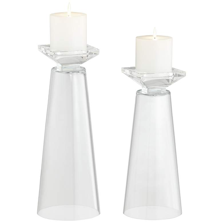Meghan Clear Glass Fillable Pillar Candle Holder Set of 2