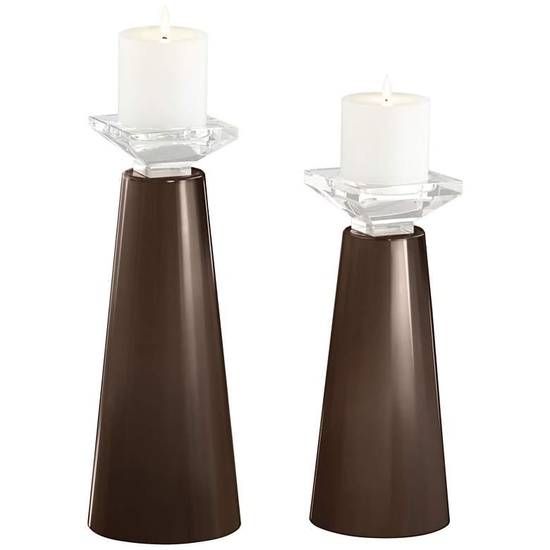 Meghan Carafe Glass Pillar Candle Holder Set of 2