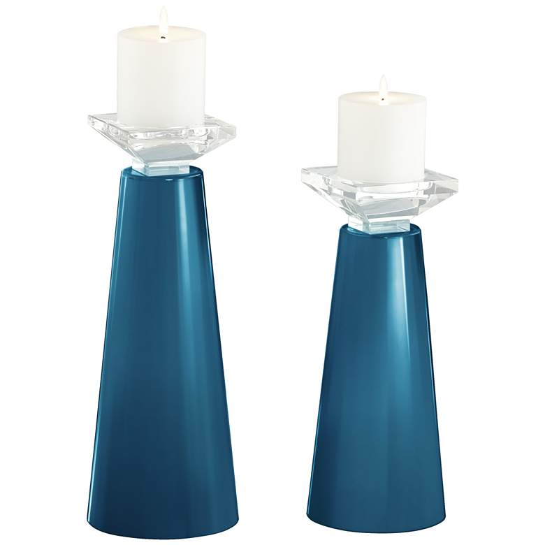 Meghan Bosporus Glass Pillar Candle Holders Set of 2