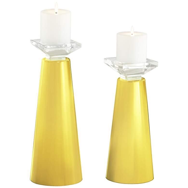 Meghan Lemon Twist Glass Pillar Candle Holders Set of 2