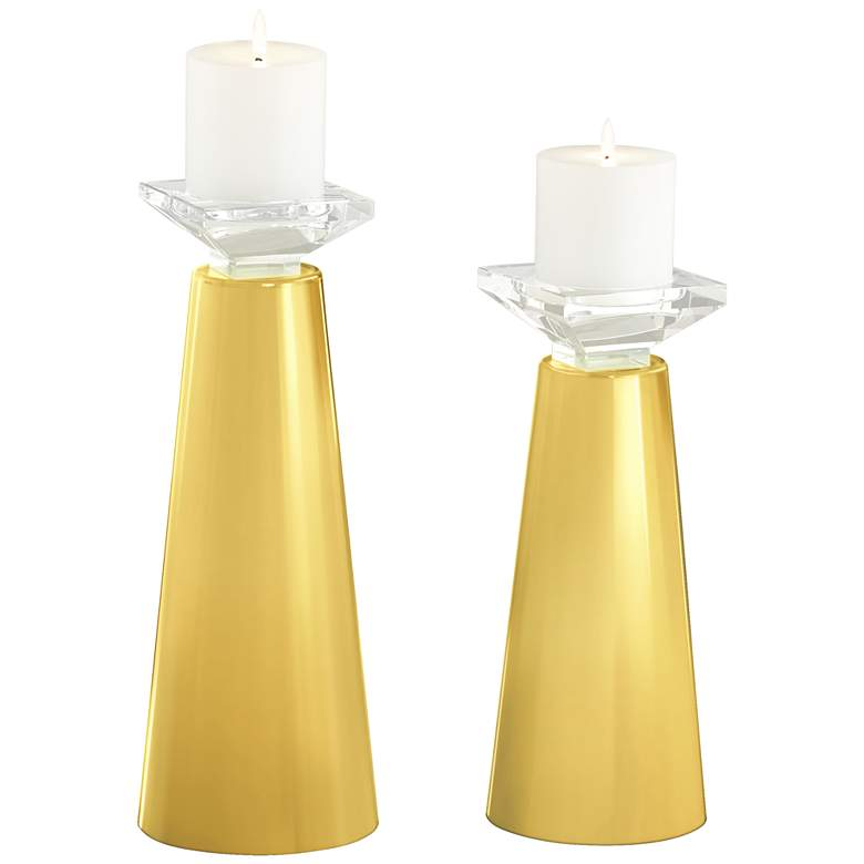 Daffodil Yellow Meghan Glass Candle Holders Set of 2