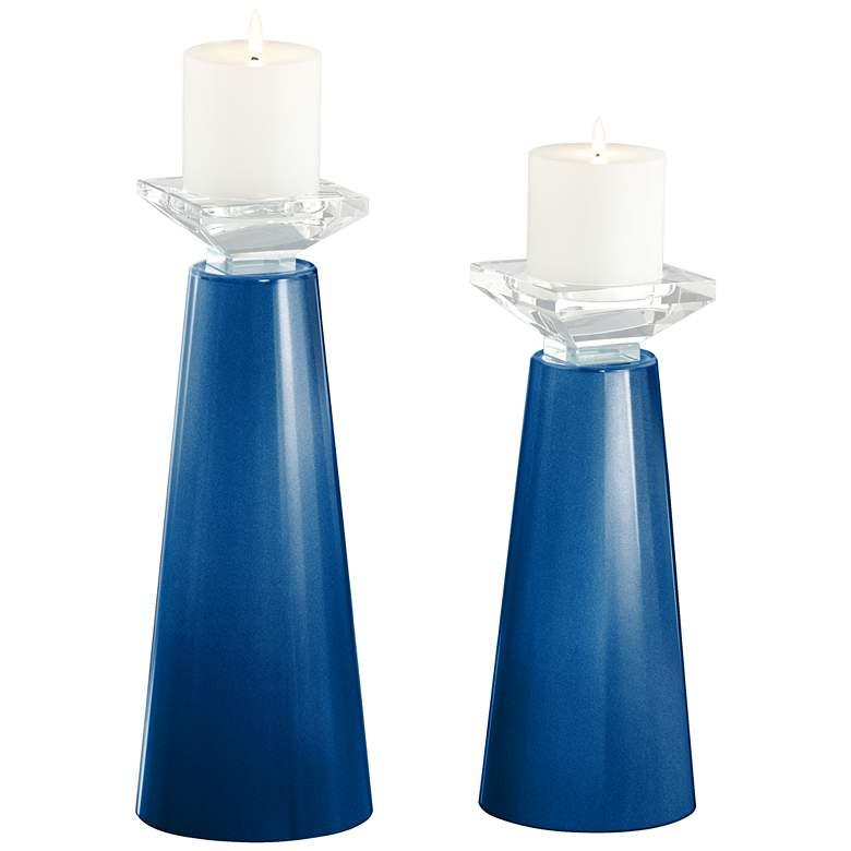 Meghan Ocean Metallic Glass Pillar Candle Holder Set of 2