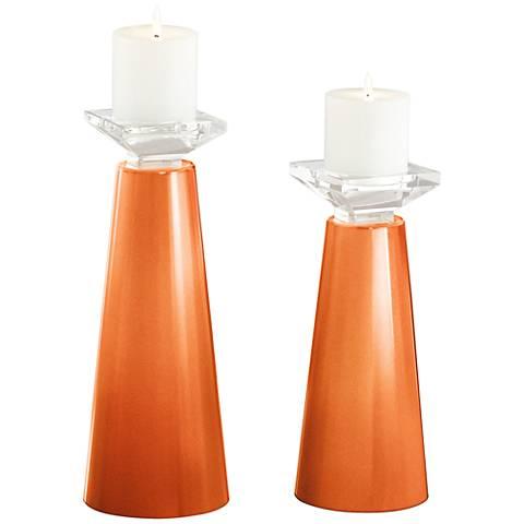 Meghan Burnt Orange Metallic Candle Holder Set of 2