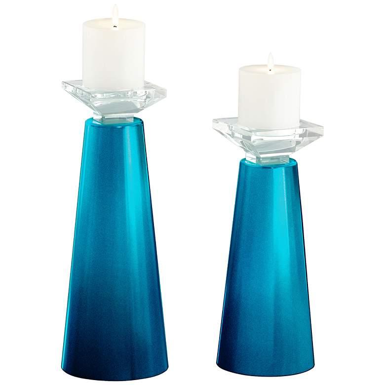 Meghan Baja Metallic Glass Candle Holder Set of 2