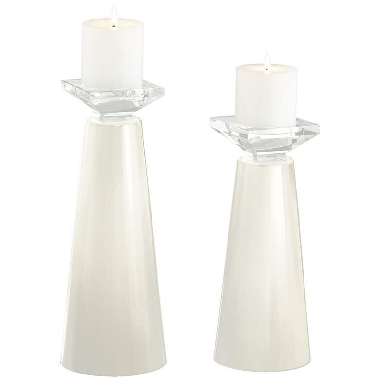 Meghan Vanilla Metallic Glass Pillar Candle Holder Set of 2