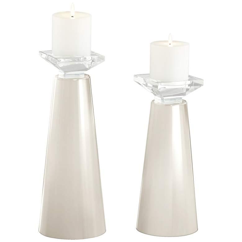 Meghan West Highland White Pillar Candle Holders Set of 2