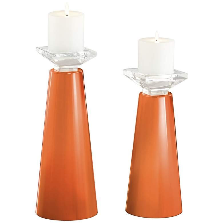 Meghan Celosia Orange Glass Pillar Candle Holders Set of 2