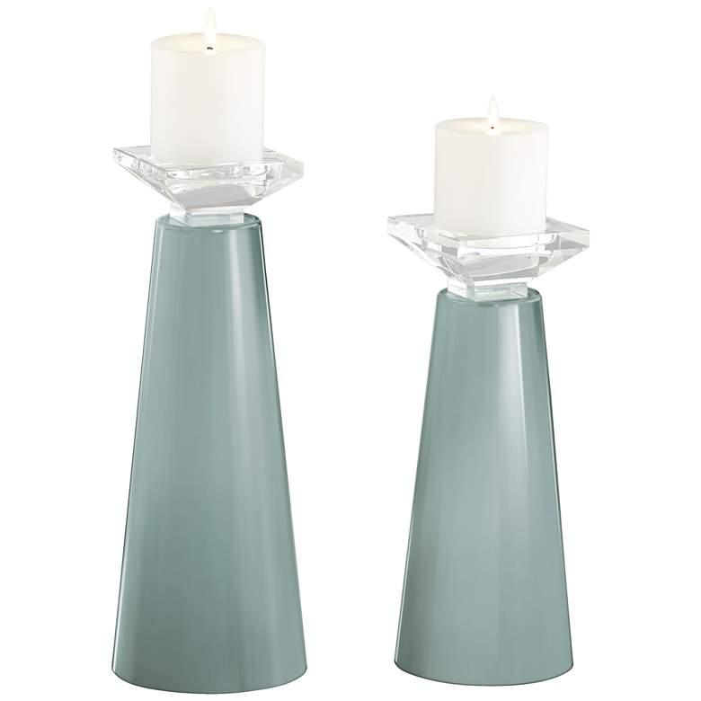 Meghan Aqua-Sphere Glass Pillar Candle Holder Set of 2