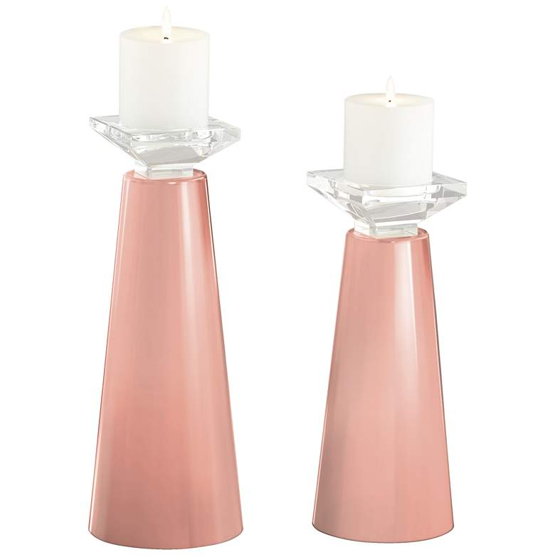 Meghan Mellow Coral Glass Pillar Candle Holder Set of 2