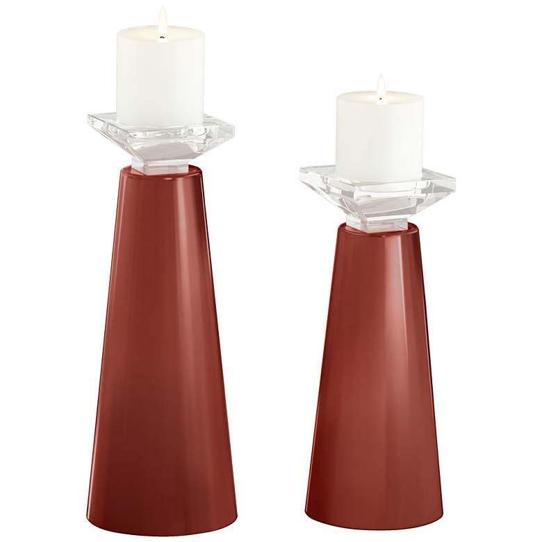 Meghan Madeira Glass Pillar Candle Holder Set of 2