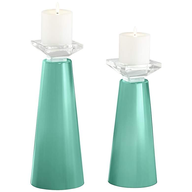 Meghan Larchmere  Glass Pillar Candle Holder Set of 2