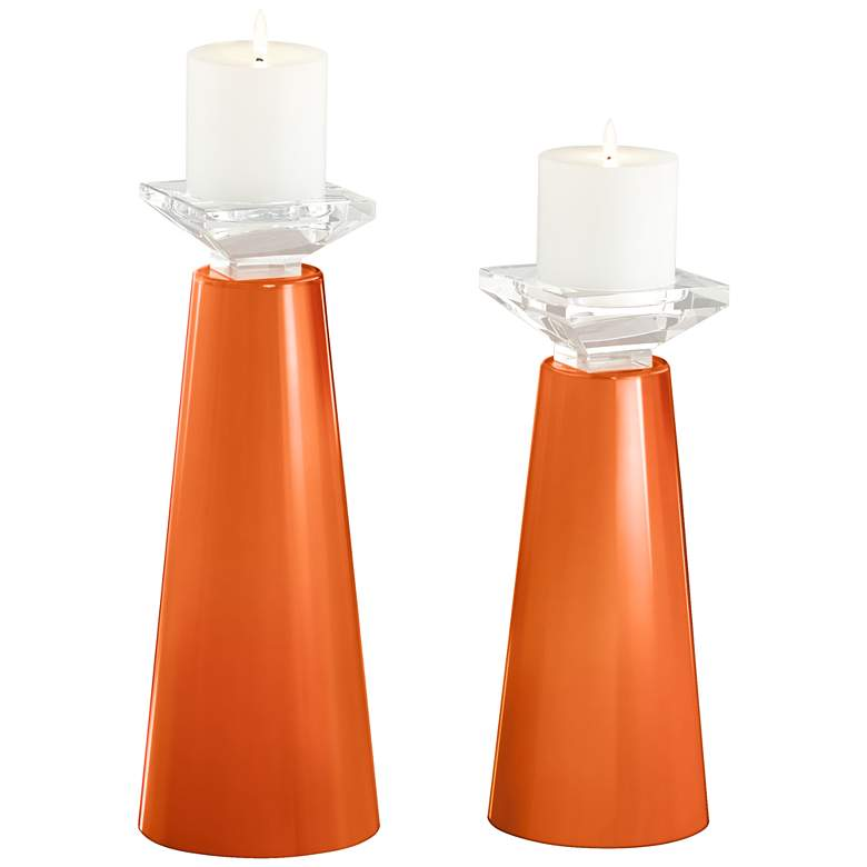 Meghan Invigorate Glass Pillar Candle Holder Set of 2