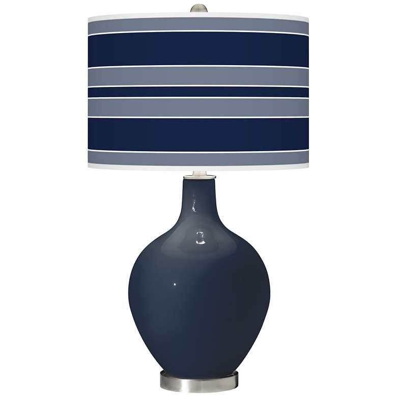 Naval Bold Stripe Ovo Glass Table Lamp