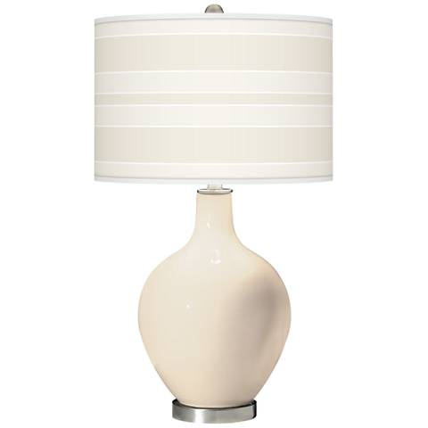 Steamed Milk Bold Stripe Ovo Glass Table Lamp