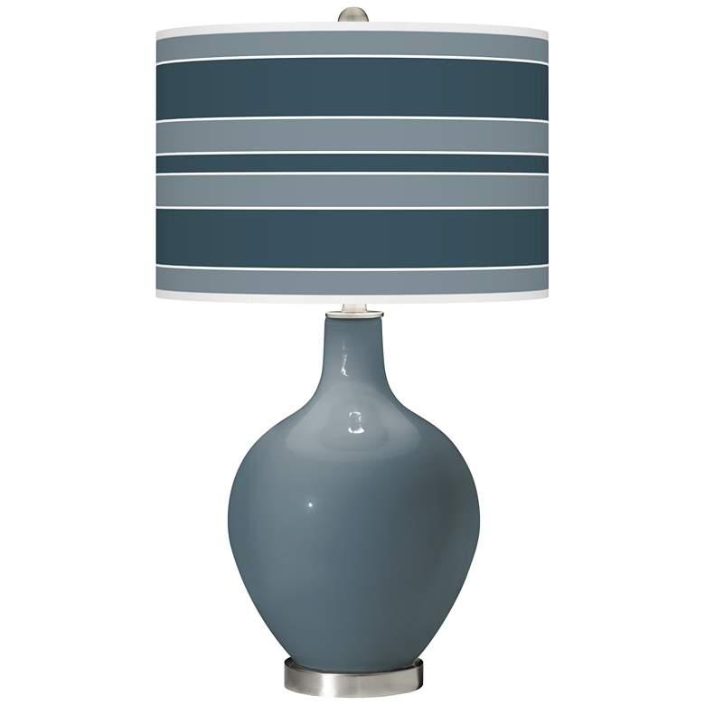 Smoky Blue Bold Stripe Ovo Glass Table Lamp