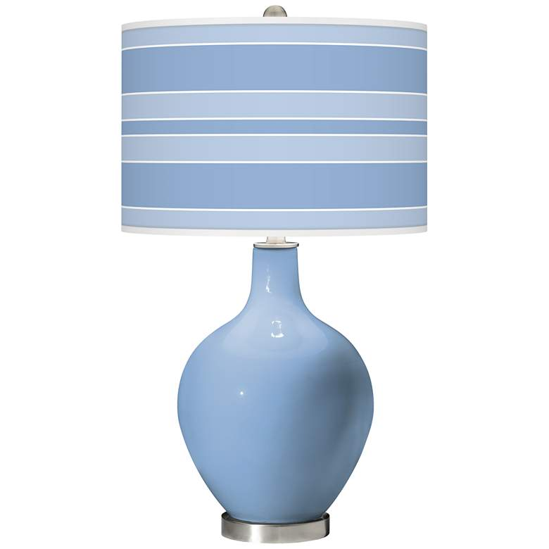 Placid Blue Bold Stripe Ovo Glass Table Lamp