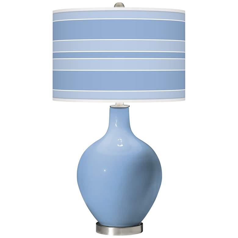 Placid Blue Bold Stripe Ovo Glass Table Lamp
