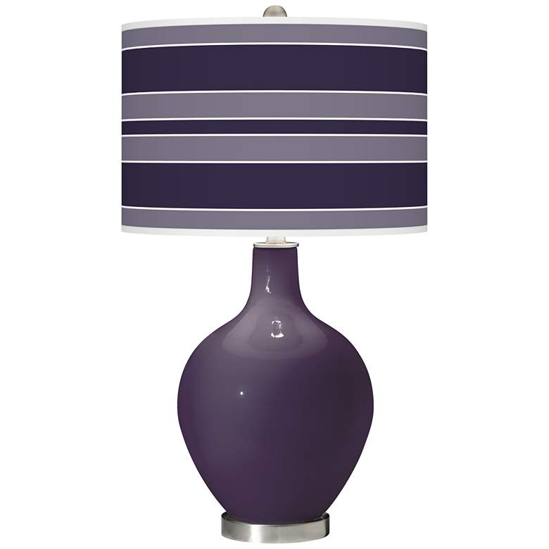 Quixotic Plum Bold Stripe Ovo Glass Table Lamp