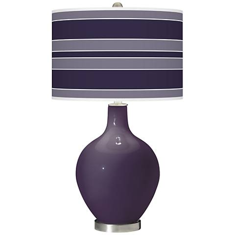Quixotic Plum Bold Stripe Ovo Glass Table Lamp