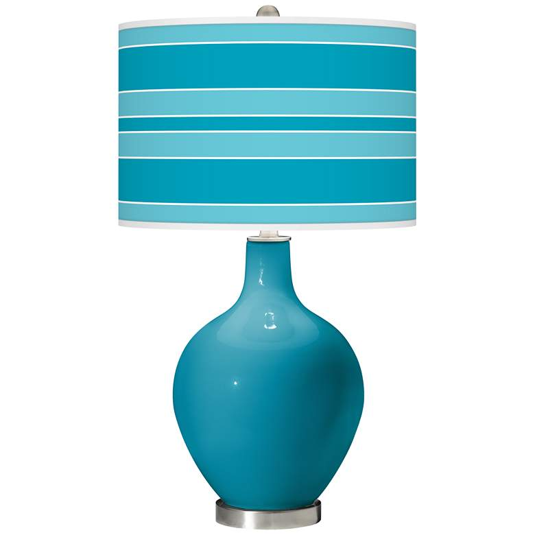Caribbean Sea Bold Stripe Ovo Glass Table Lamp