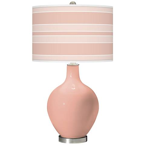 Mellow coral Bold Stripe Ovo Glass Table Lamp