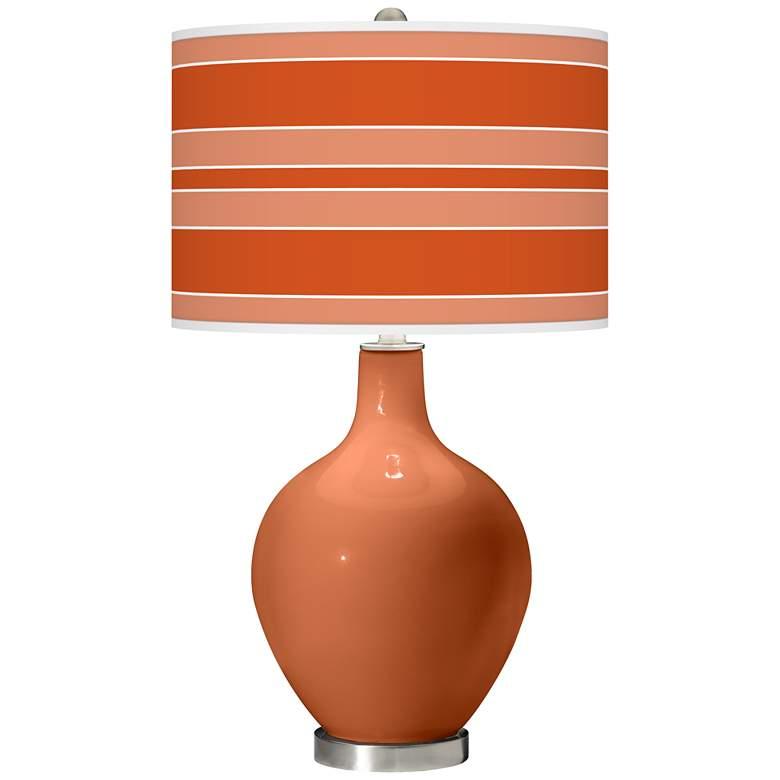 Robust Orange Bold Stripe Ovo Glass Table Lamp