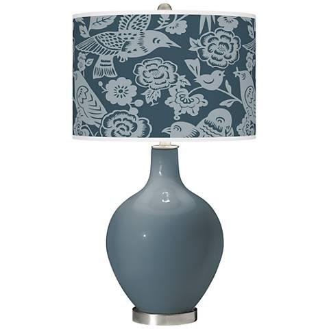 Smoky Blue Aviary Ovo Glass Table Lamp