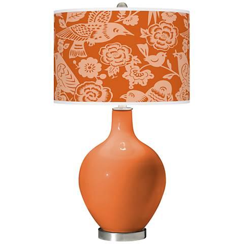 Celosia Orange Aviary Ovo Glass Table Lamp